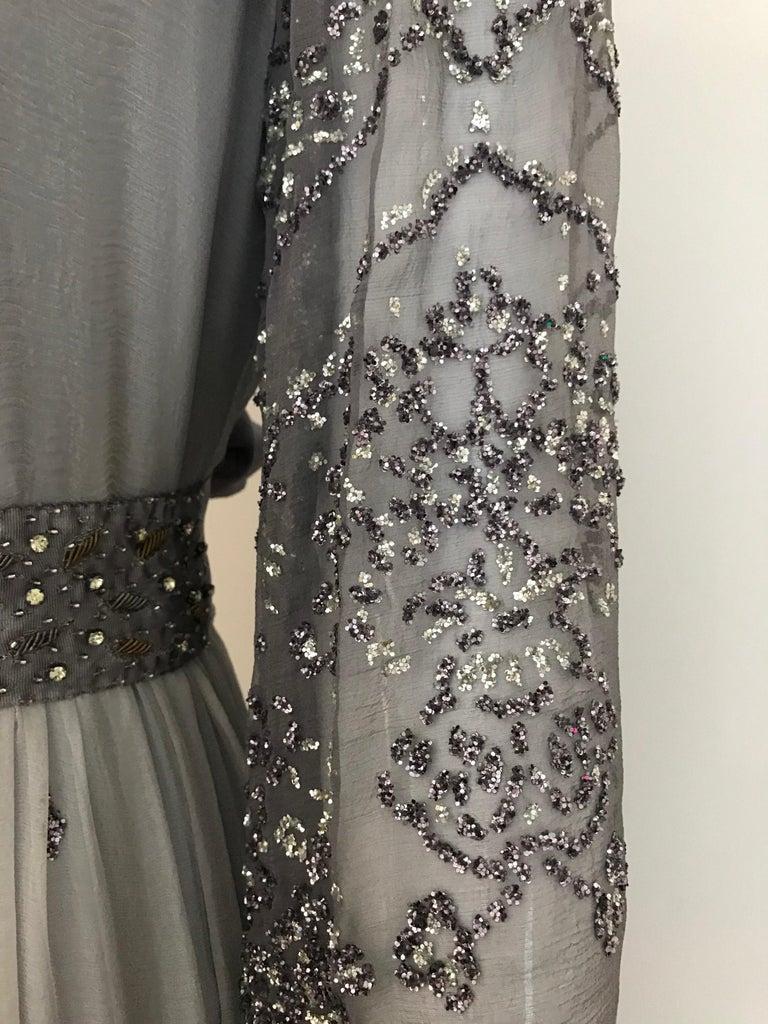 Richilene Gray Silk Chiffon Maxi Dress, 1970s  For Sale 2