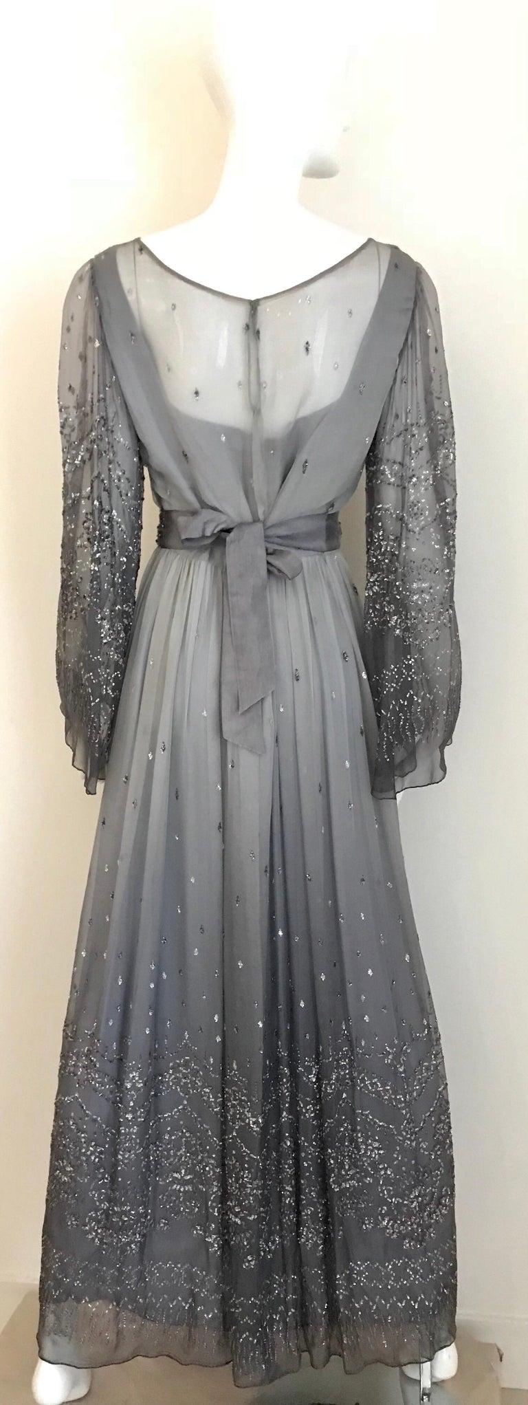 Richilene Gray Silk Chiffon Maxi Dress, 1970s  For Sale 3
