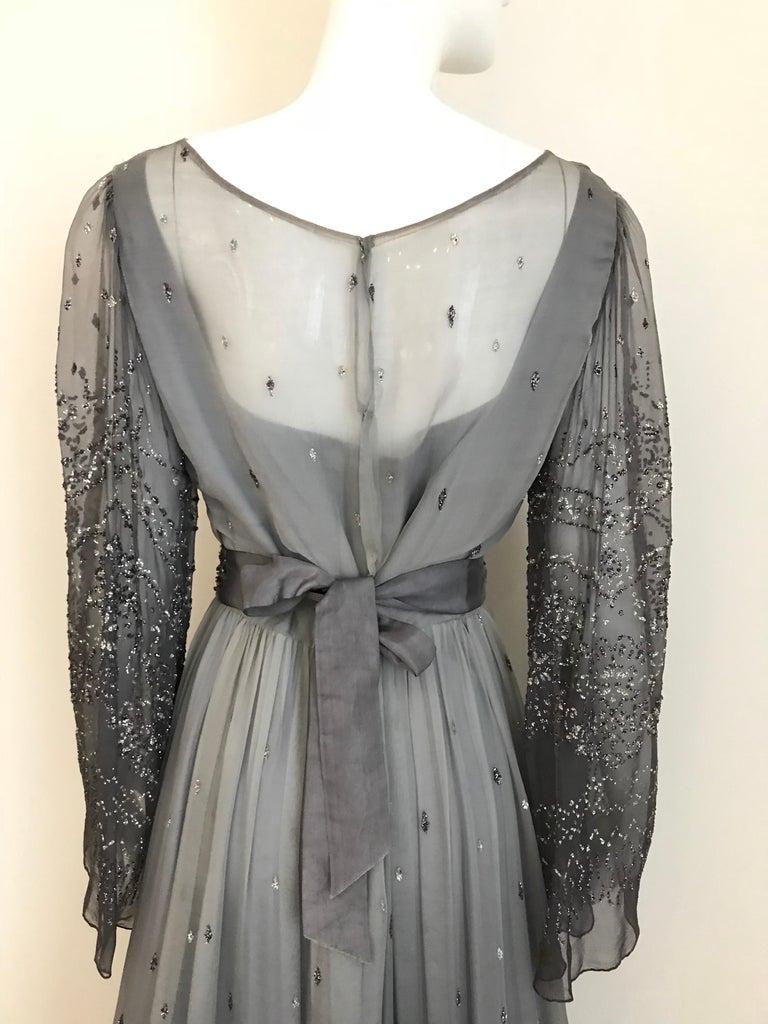 Richilene Gray Silk Chiffon Maxi Dress, 1970s  For Sale 4