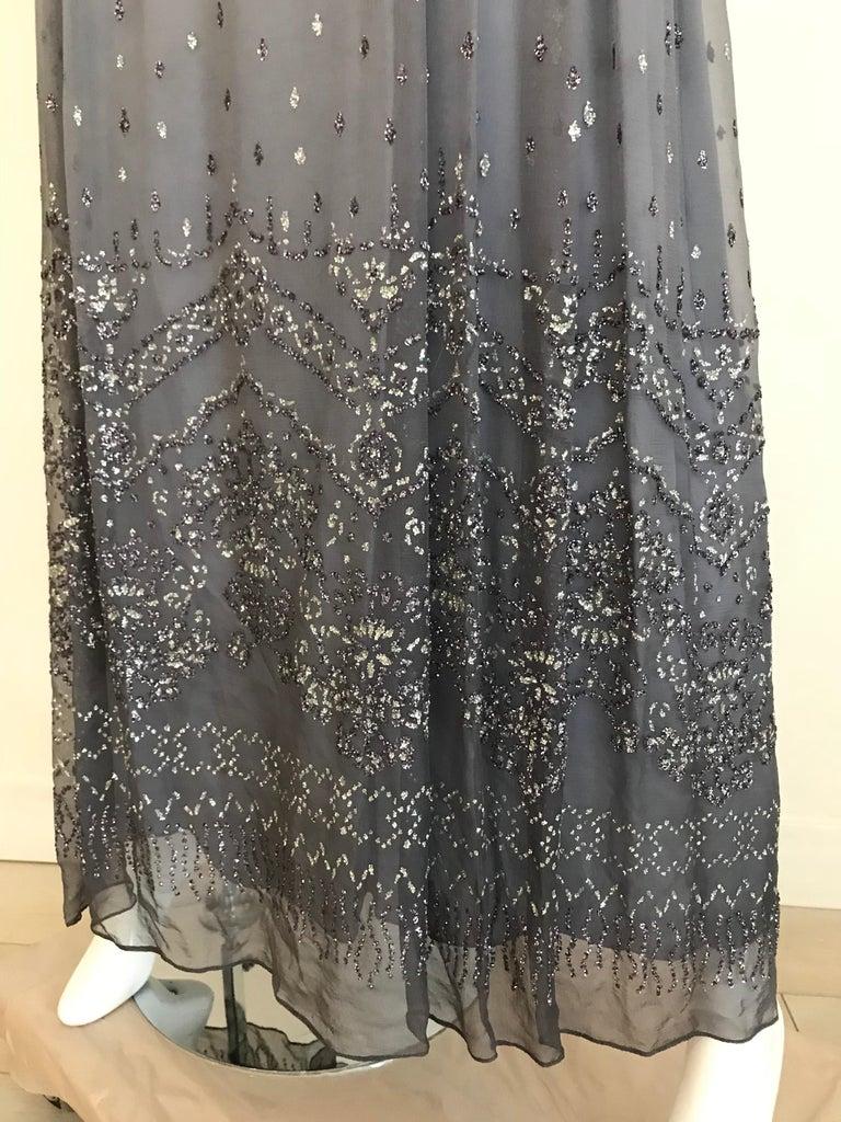 Richilene Gray Silk Chiffon Maxi Dress, 1970s  For Sale 5