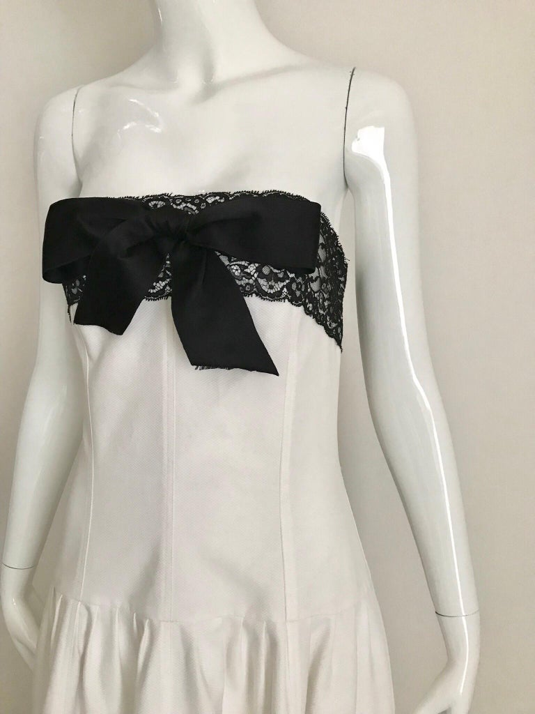 Gray Chanel White and Black Cotton Pique Strapless Cocktail Dress, 1980s  For Sale