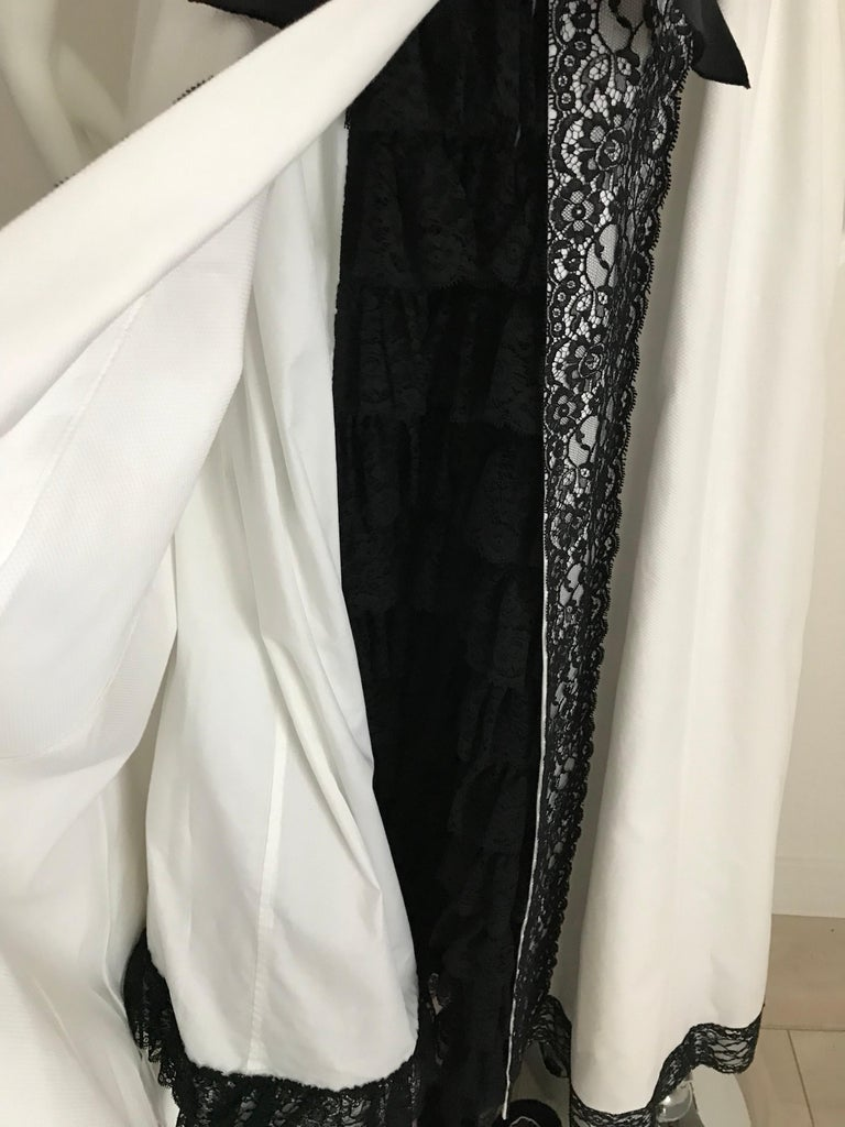 Chanel White and Black Cotton Pique Strapless Cocktail Dress, 1980s  For Sale 2