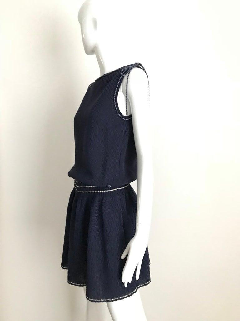 Black Chanel Navy Blue Knit Drop Waist Dress For Sale