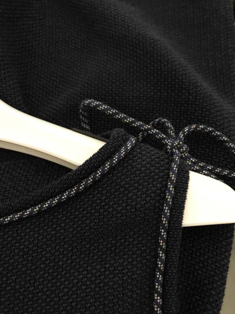 Chanel Navy Blue Knit Drop Waist Dress For Sale 1