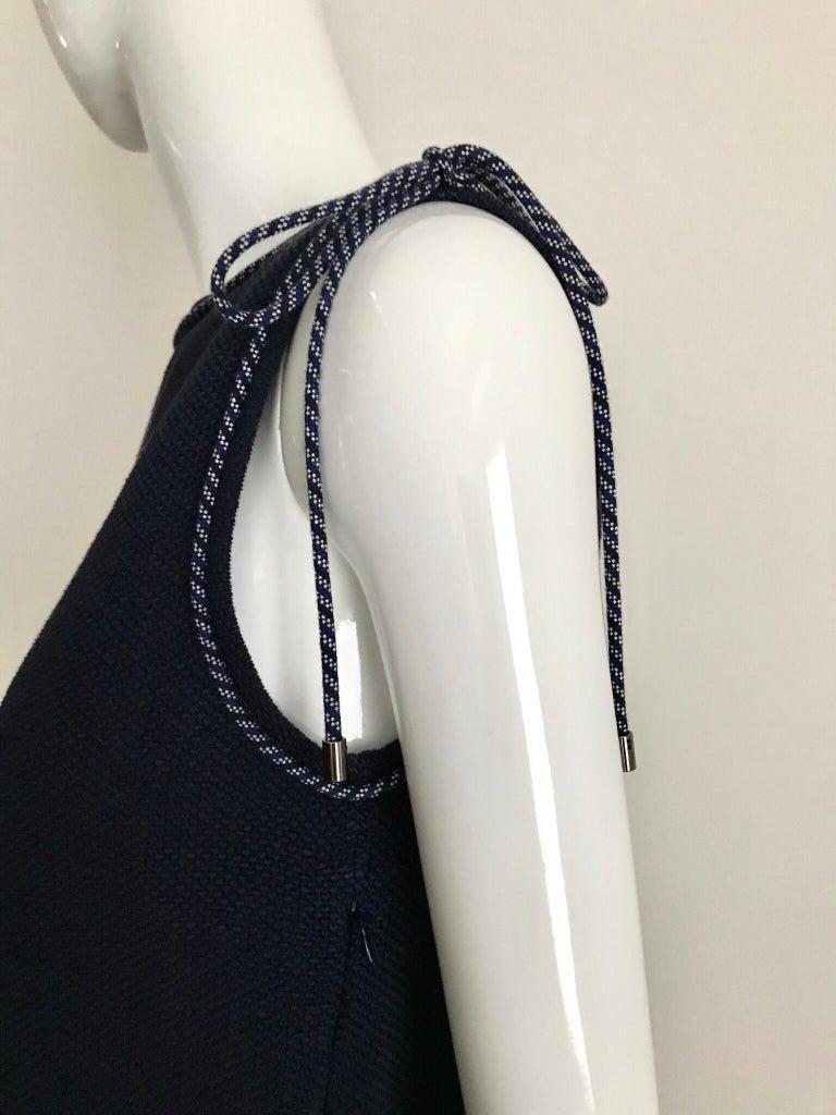 Chanel Navy Blue Knit Drop Waist Dress For Sale 2