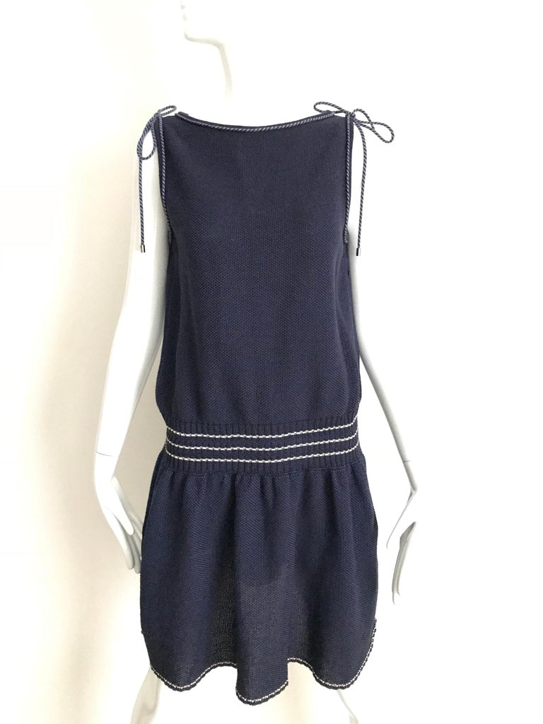 Chanel Navy Blue Knit Drop Waist Dress For Sale 3