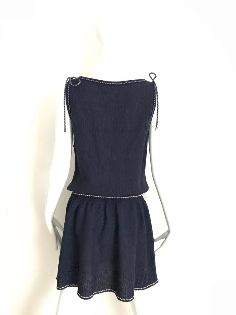 Chanel Navy Blue Knit Drop Waist Dress For Sale 4