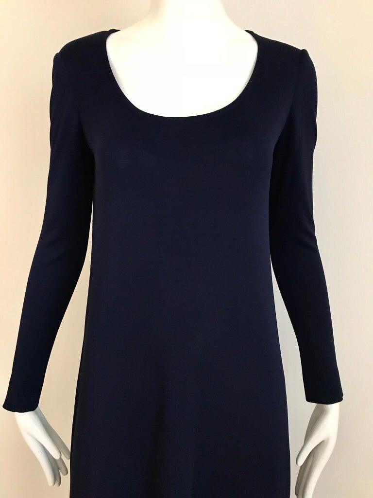 Black 1970s Halston Blue Jersey Dress For Sale