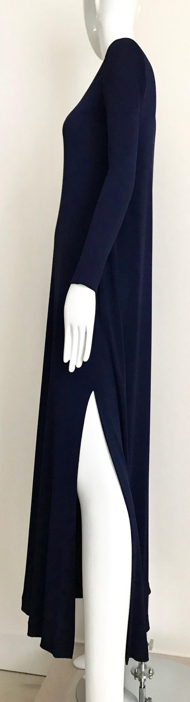 1970s Halston Blue Jersey Dress In Good Condition For Sale In Beverly Hills, CA