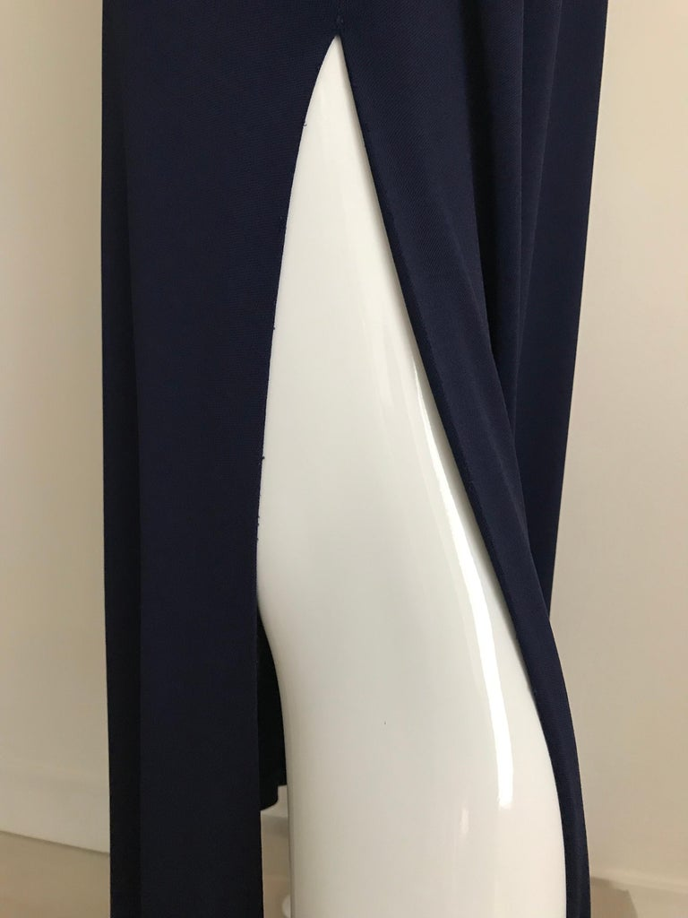 Women's 1970s Halston Blue Jersey Dress For Sale