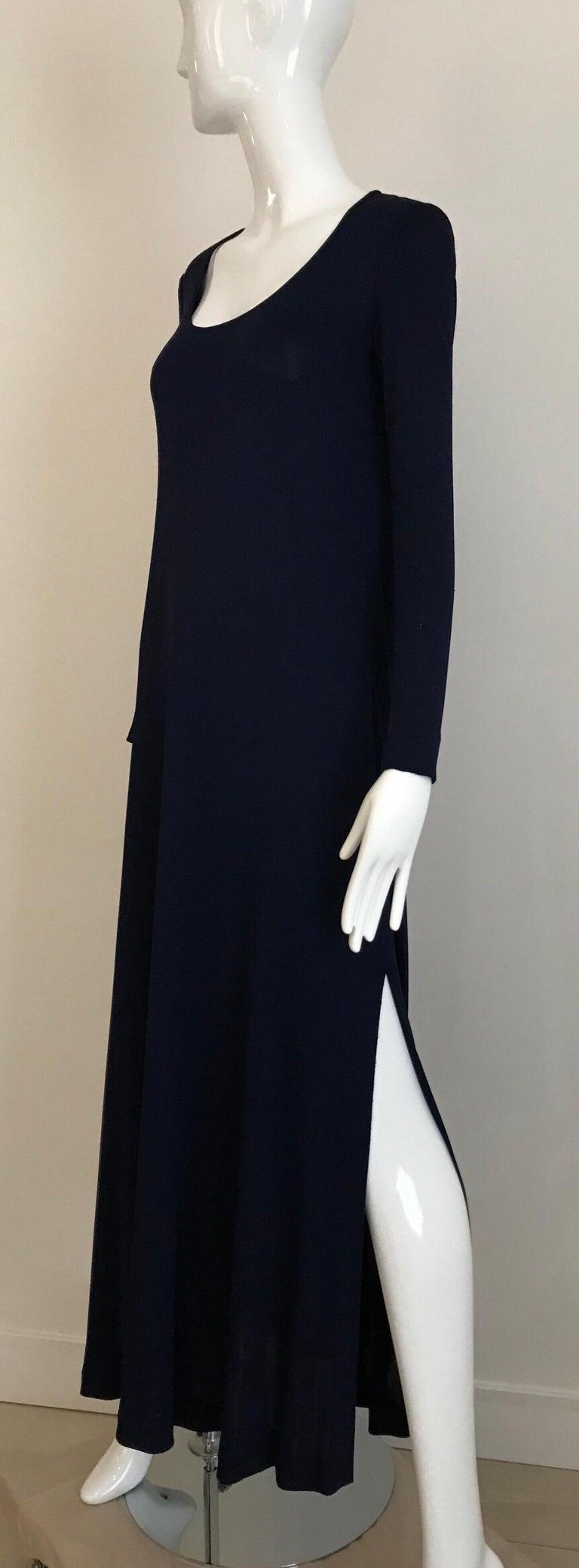 1970s Halston Blue Jersey Dress For Sale 1