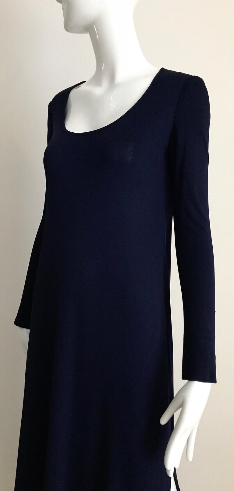 1970s Halston Blue Jersey Dress For Sale 2