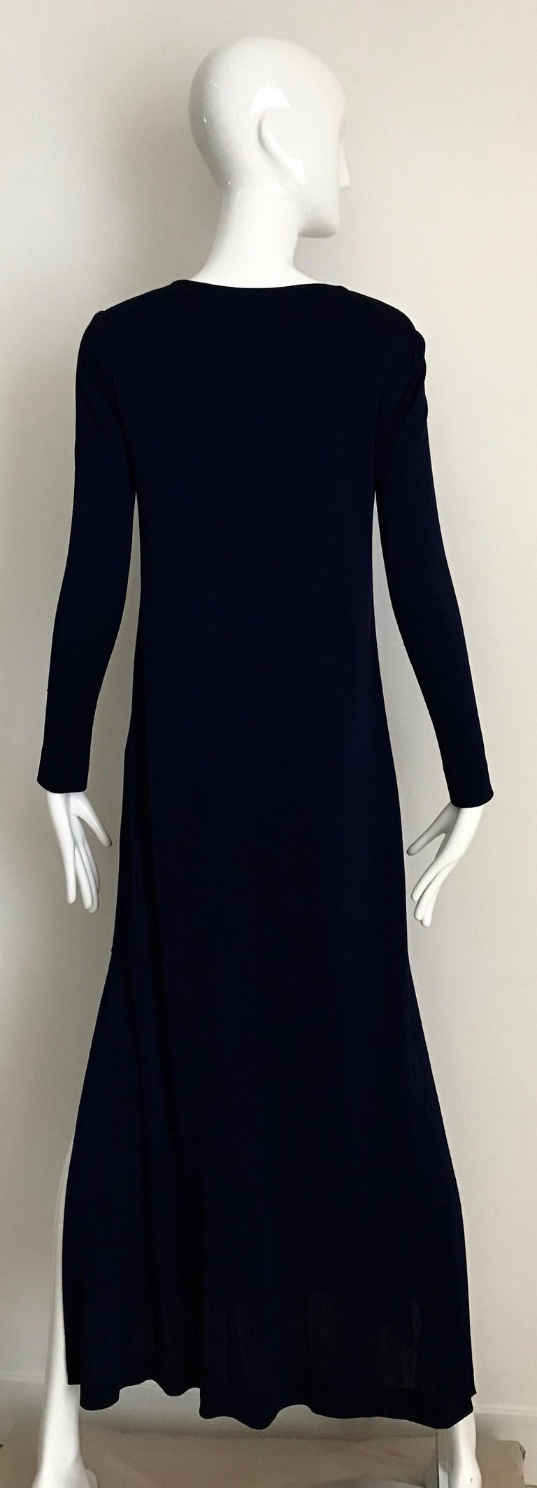 1970s Halston Blue Jersey Dress For Sale 3