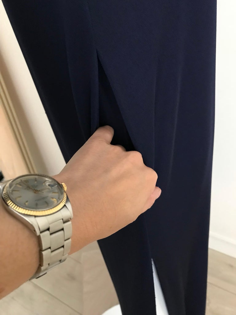 1970s Halston Blue Jersey Dress For Sale 4