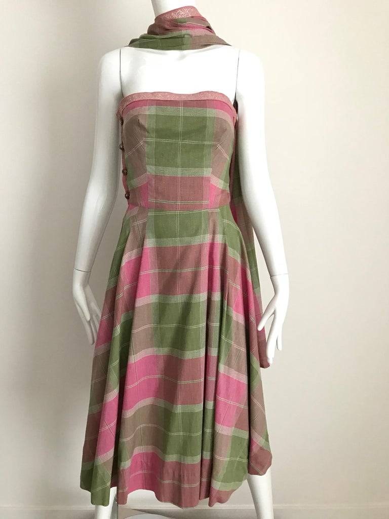 Brown Vintage Tina Lesser Pink and Green Plaid Cotton Dress For Sale