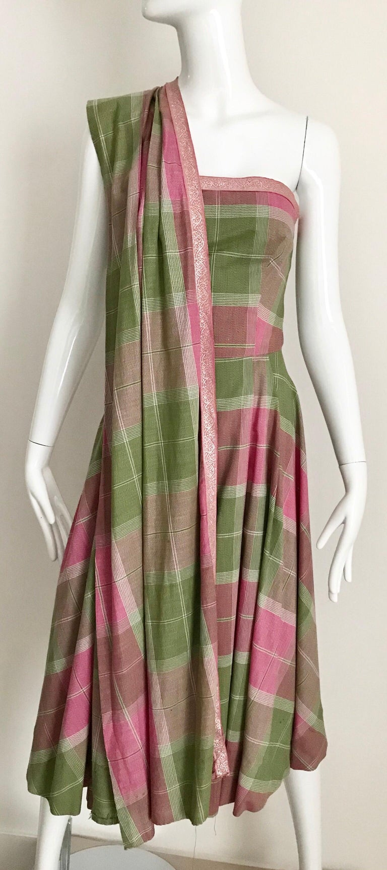 Vintage Tina Lesser Pink and Green Plaid Cotton Dress In Good Condition For Sale In Beverly Hills, CA