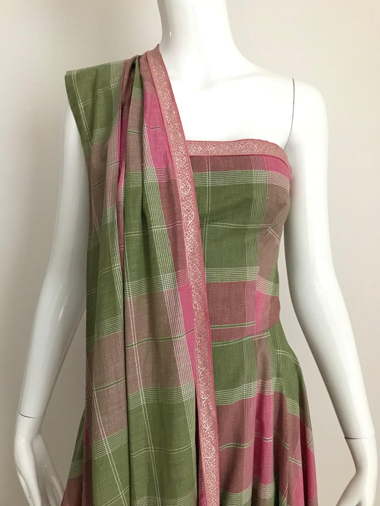 Women's Vintage Tina Lesser Pink and Green Plaid Cotton Dress For Sale