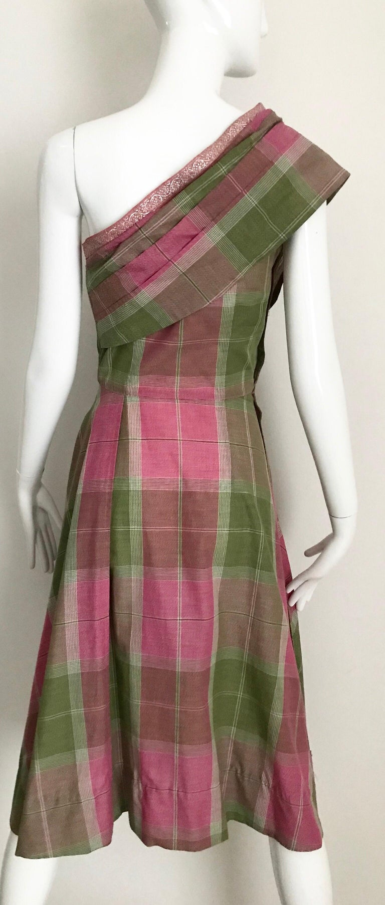 Vintage Tina Lesser Pink and Green Plaid Cotton Dress For Sale 2