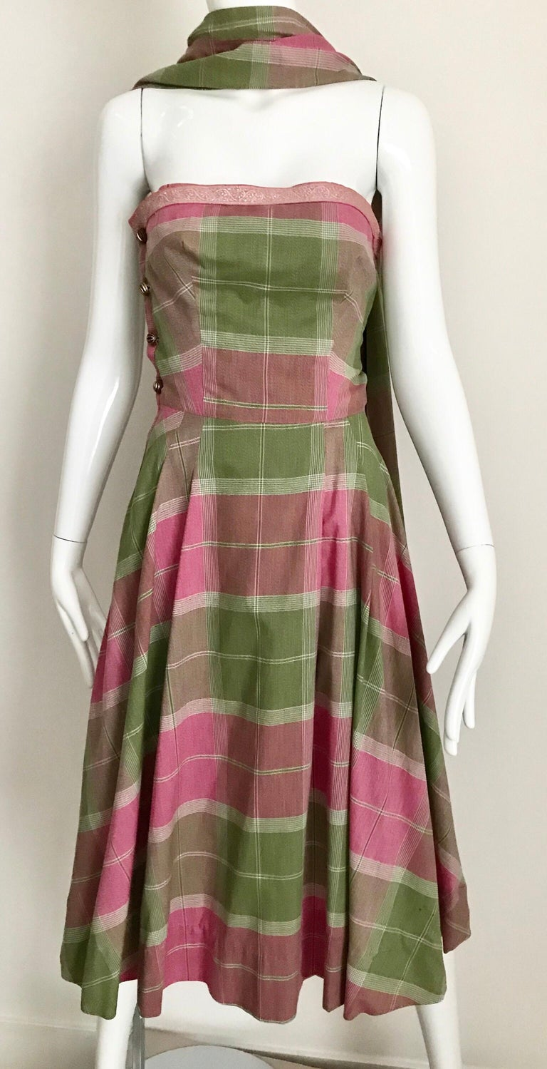Vintage Tina Lesser Pink and Green Plaid Cotton Dress For Sale 3
