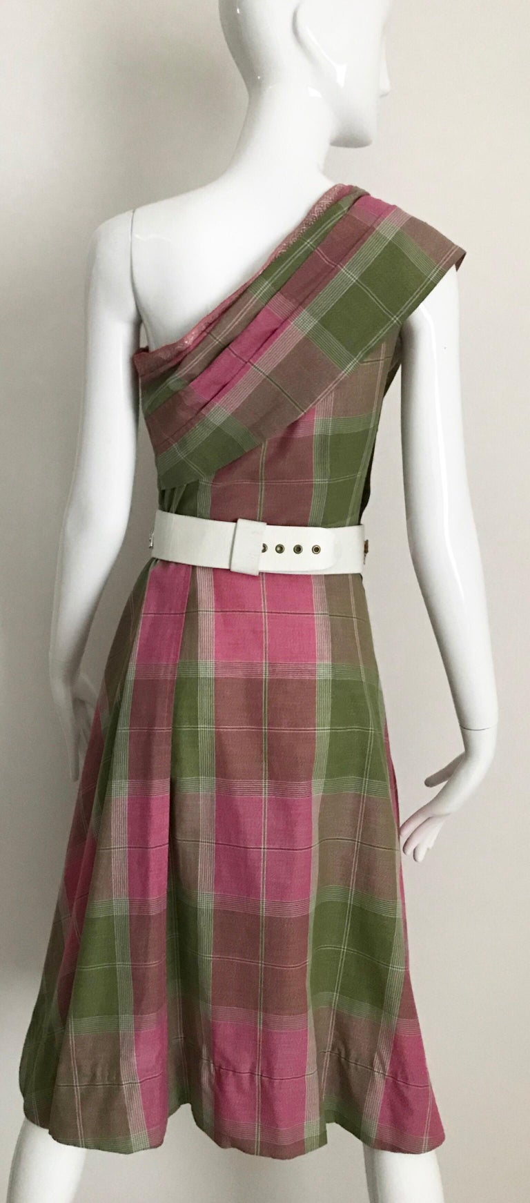 Vintage Tina Lesser Pink and Green Plaid Cotton Dress For Sale 4