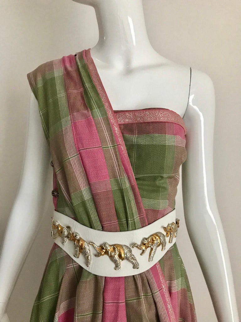Vintage Tina Lesser Pink and Green Plaid Cotton Dress For Sale 5