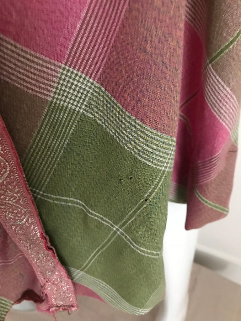 Vintage Tina Lesser Pink and Green Plaid Cotton Dress For Sale 6