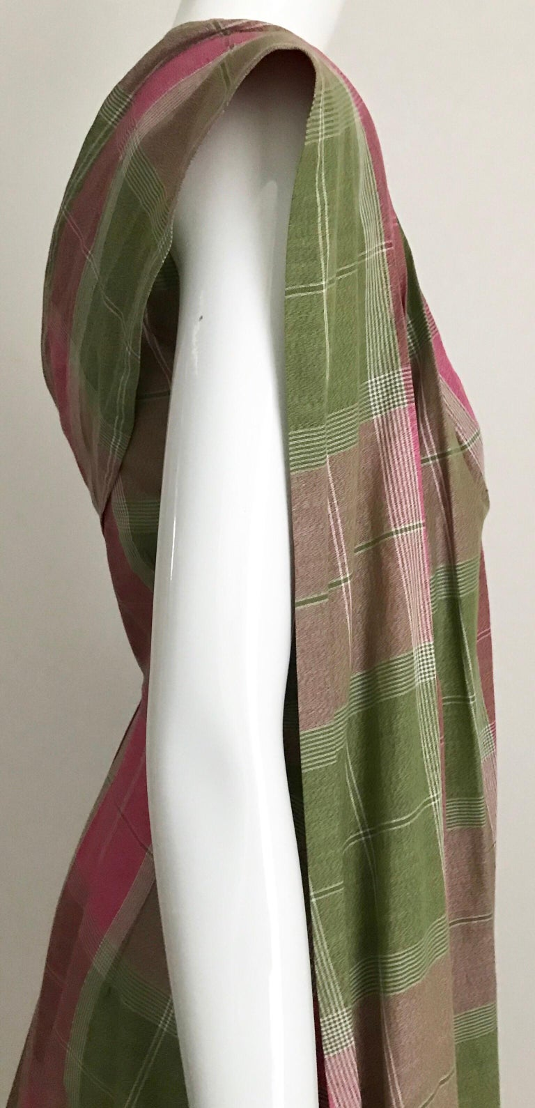 Vintage Tina Lesser Pink And Green Plaid Cotton Dress For