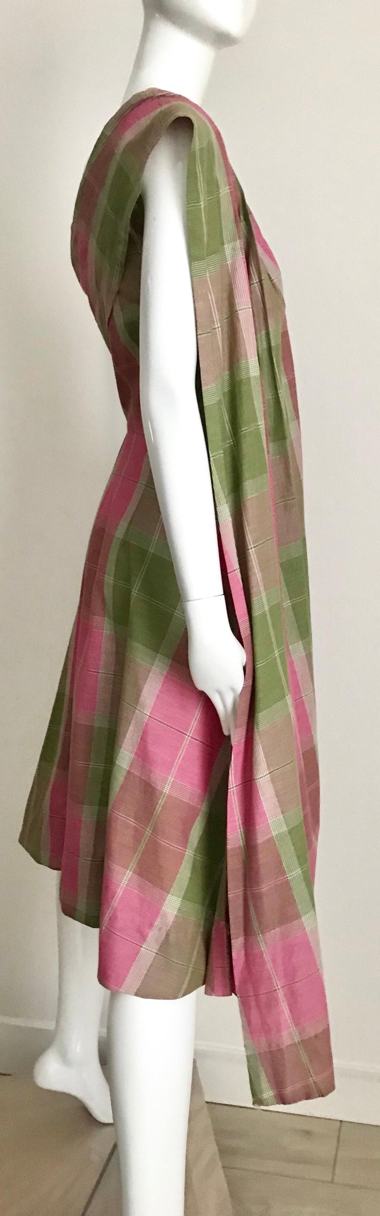 Vintage Tina Lesser Pink and Green Plaid Cotton Dress For Sale 8