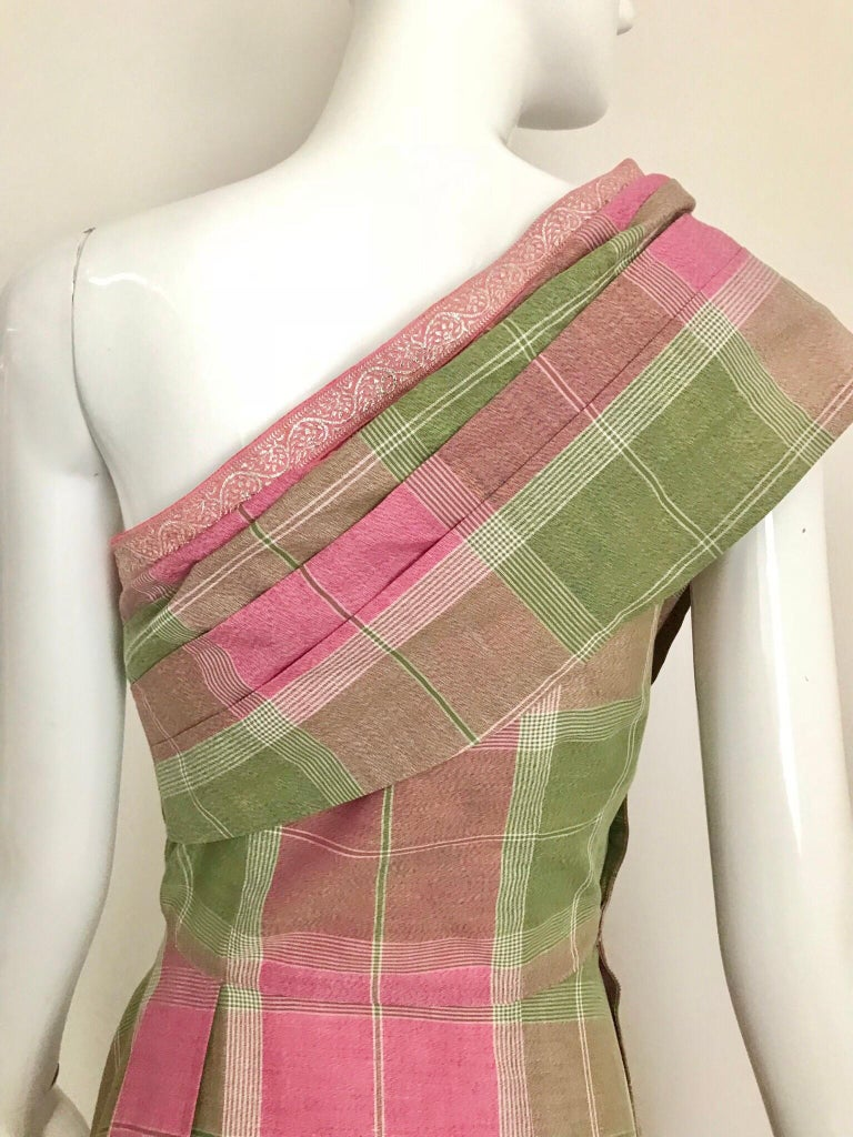 Vintage Tina Lesser Pink and Green Plaid Cotton Dress For Sale 9