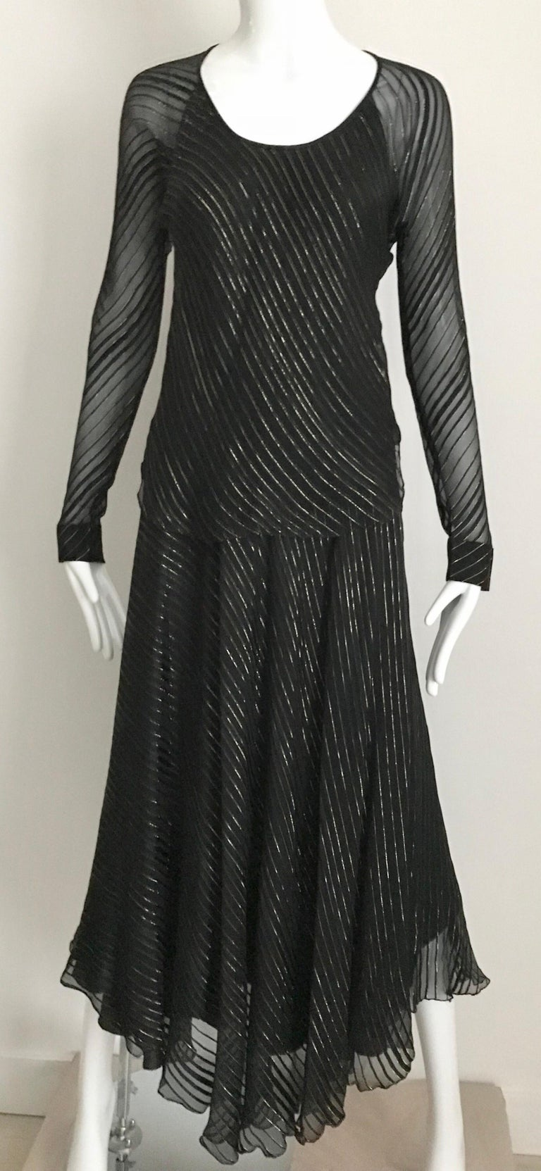 Vintage Julio Black and Gild Silk Blouse and Skirt Set  In Good Condition For Sale In Beverly Hills, CA
