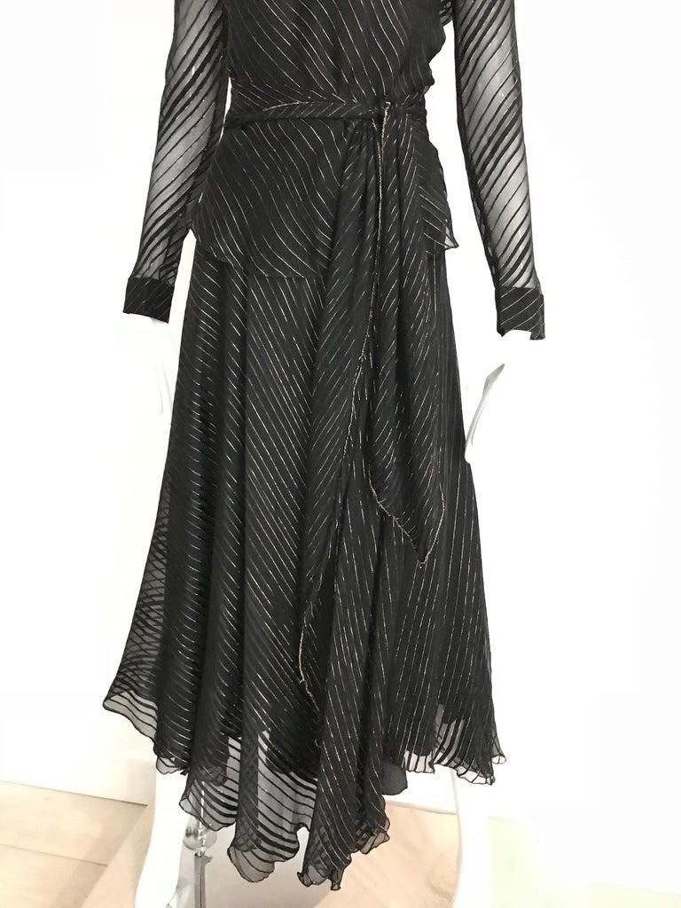 Vintage Julio Black and Gild Silk Blouse and Skirt Set  For Sale 2