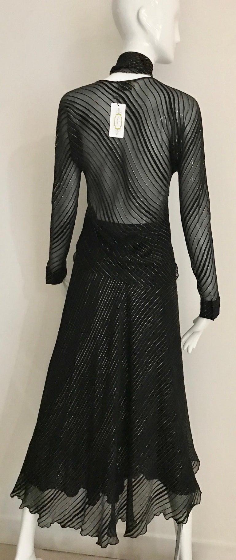 Vintage Julio Black and Gild Silk Blouse and Skirt Set  For Sale 3
