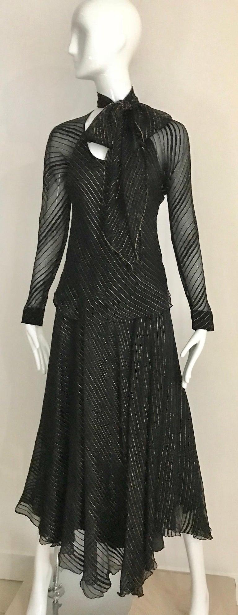 Vintage Julio Black and Gild Silk Blouse and Skirt Set  For Sale 6