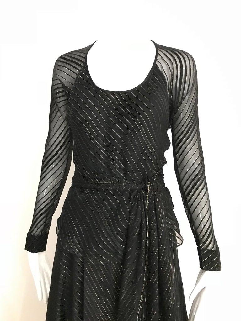 Vintage Julio Black and Gild Silk Blouse and Skirt Set  For Sale 8