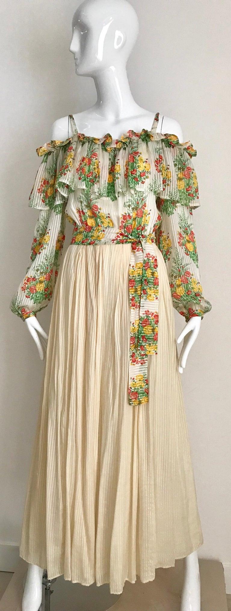 Beige Andre Laug Creme Silk Floral Print Maxi Dress, 1970s  For Sale