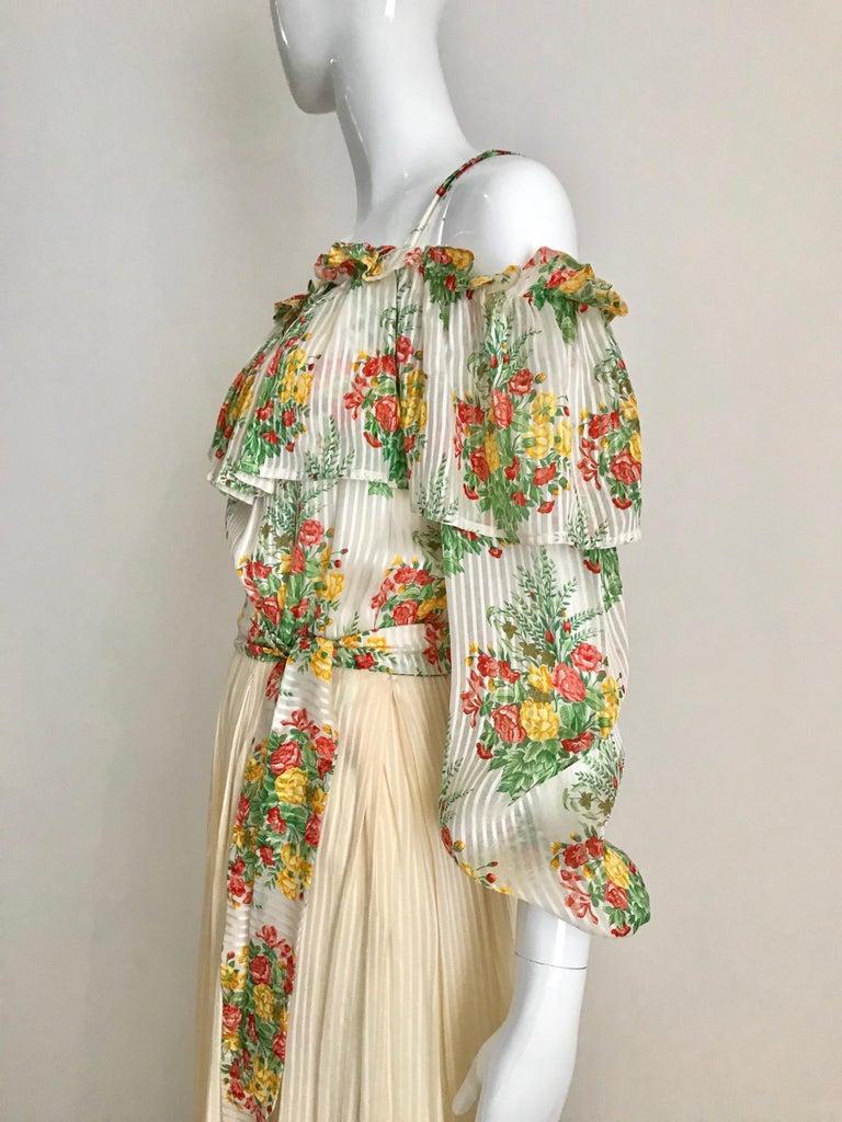 Women's Andre Laug Creme Silk Floral Print Maxi Dress, 1970s  For Sale