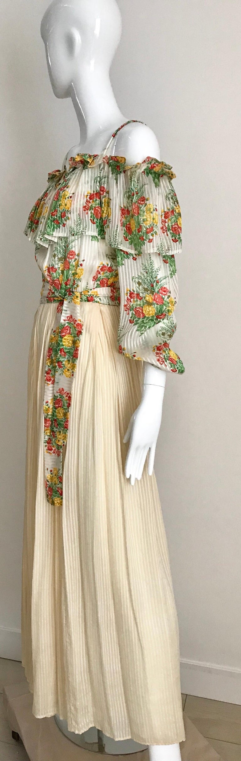 Andre Laug Creme Silk Floral Print Maxi Dress, 1970s  For Sale 1