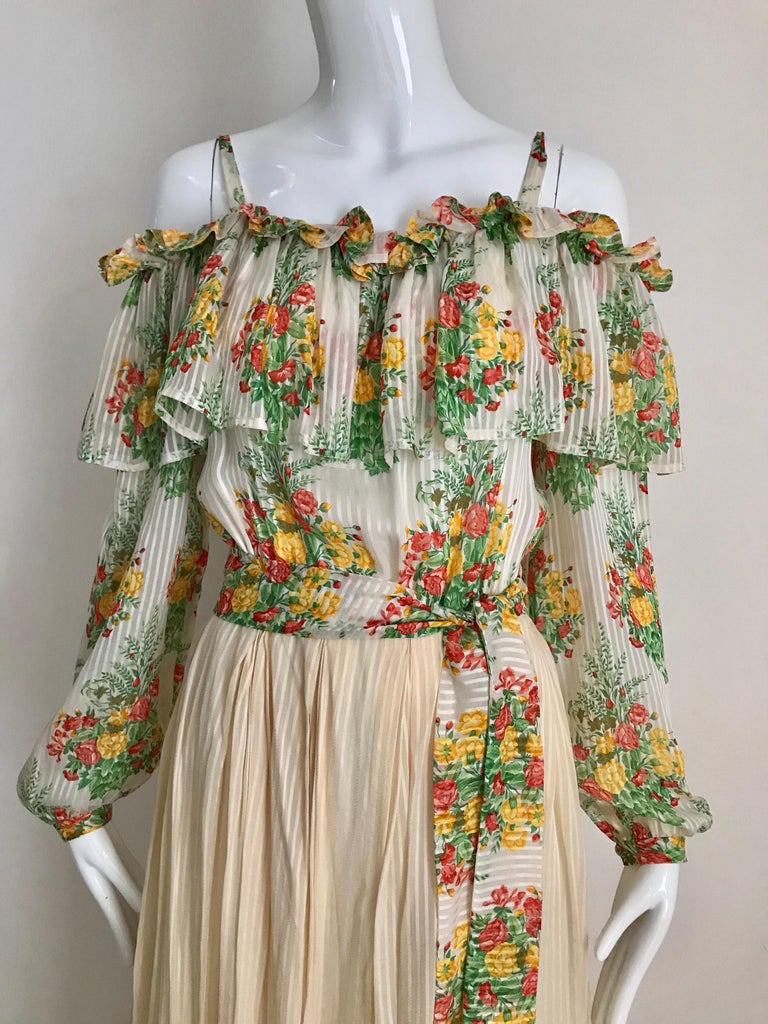 Andre Laug Creme Silk Floral Print Maxi Dress, 1970s  For Sale 2