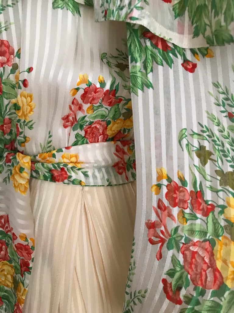 Andre Laug Creme Silk Floral Print Maxi Dress, 1970s  For Sale 3