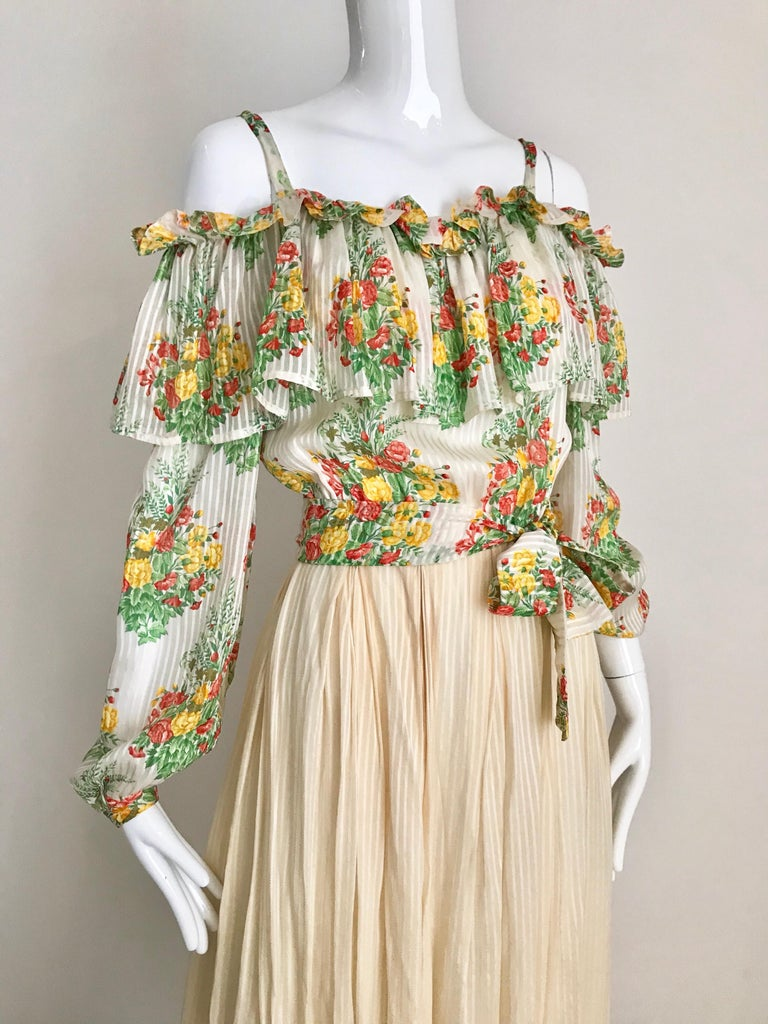 Andre Laug Creme Silk Floral Print Maxi Dress, 1970s  For Sale 4
