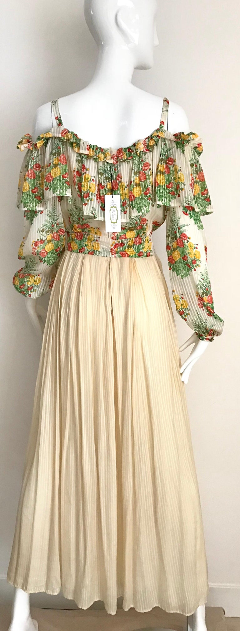 Andre Laug Creme Silk Floral Print Maxi Dress, 1970s  For Sale 5