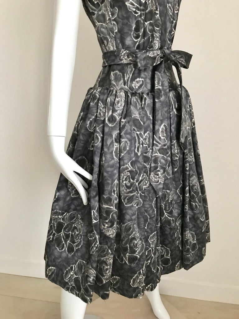 Gray Vintage Norman Norell Blue and Grey Floral Print Silk Velvet Cocktail Dress  For Sale