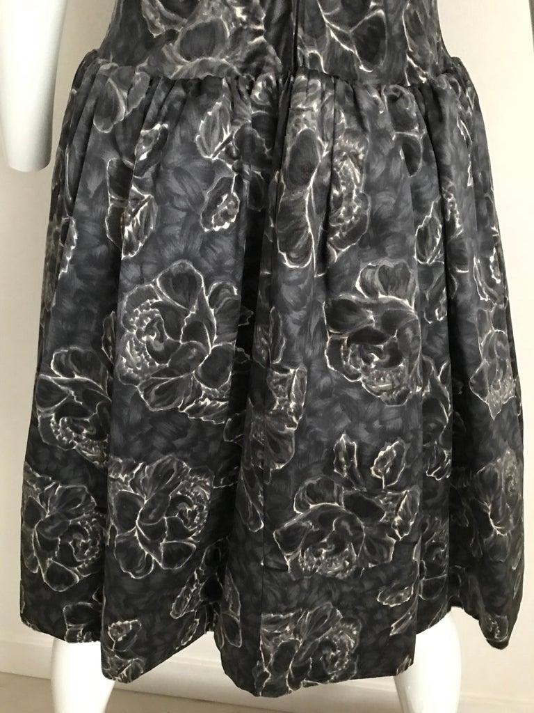 Vintage Norman Norell Blue and Grey Floral Print Silk Velvet Cocktail Dress  For Sale 8