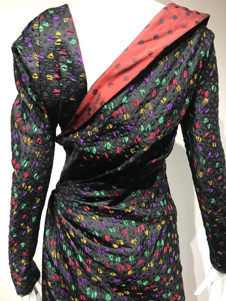 Givenchy Haute Couture Black Multi Color Dots Vintage Silk Dress In Excellent Condition For Sale In Beverly Hills, CA