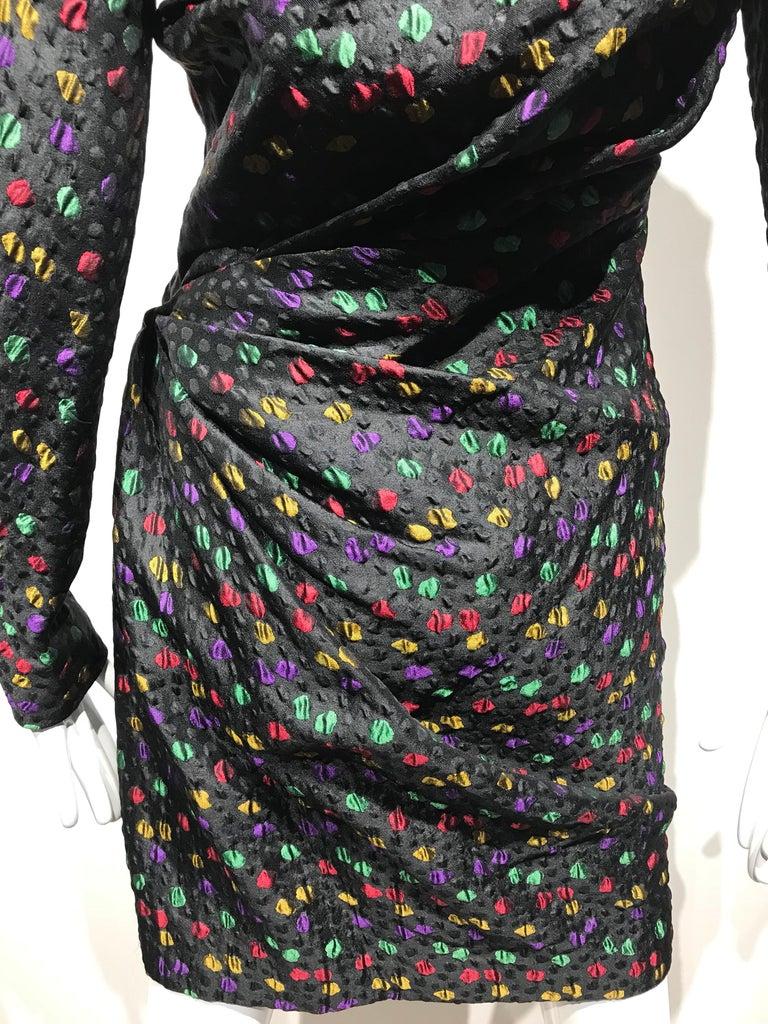 Givenchy Haute Couture Black Multi Color Dots Vintage Silk Dress For Sale 1