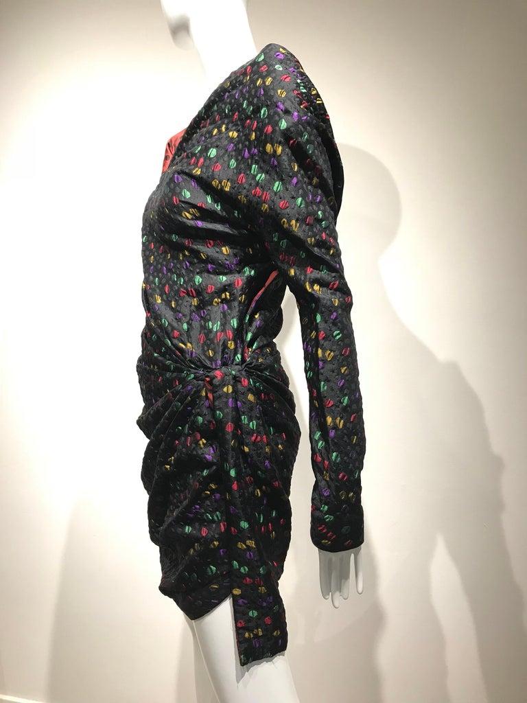 Givenchy Haute Couture Black Multi Color Dots Vintage Silk Dress For Sale 2