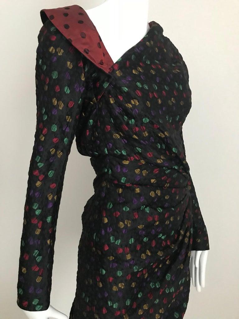 Givenchy Haute Couture Black Multi Color Dots Vintage Silk Dress For Sale 3