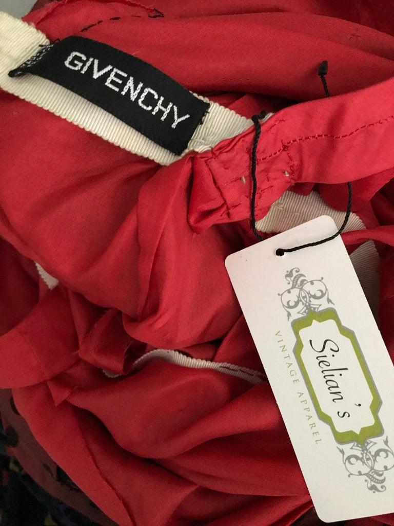 Women's Givenchy Haute Couture Black Multi Color Dots Vintage Silk Dress For Sale
