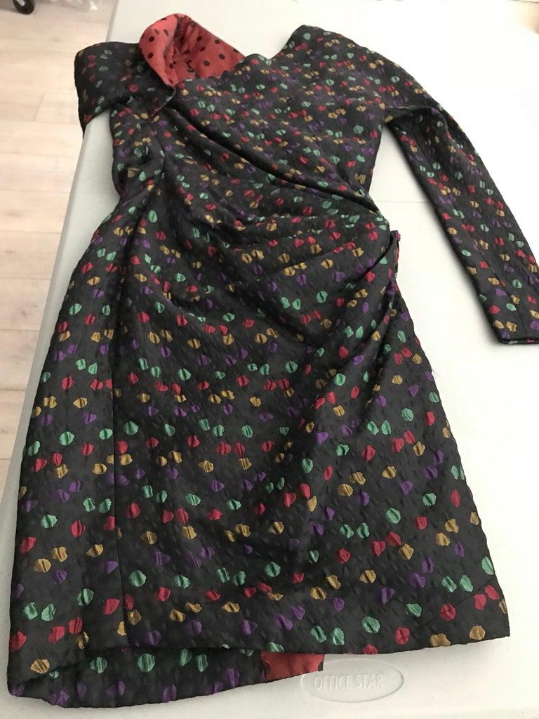 Givenchy Haute Couture Black Multi Color Dots Vintage Silk Dress For Sale 6