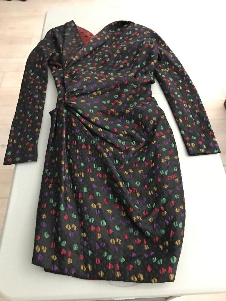 Givenchy Haute Couture Black Multi Color Dots Vintage Silk Dress For Sale 8